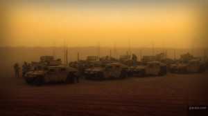 Army Desktop Wallpaper of a Convoy in the Desert
