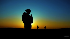 Army Desktop Wallpaper of Soldiers on Patrol with a Brilliant Sunset